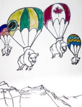 a cartoon image showing bison being helicoptered into Banff National Park