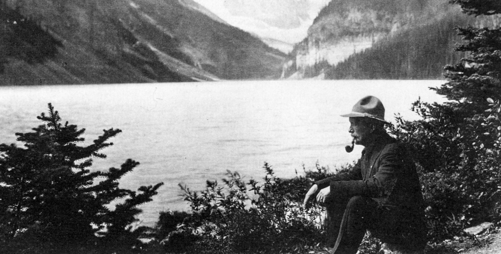photo of Tom Wilson on the shores of Lake Louise.
