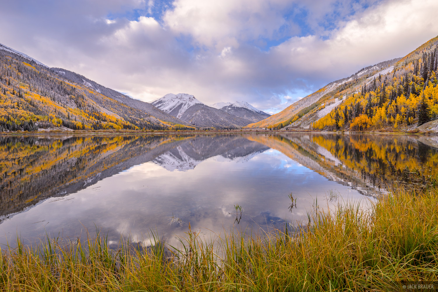 Fall Mountains In The Sun Wallpaper Crystal Lake Autumn Reflection San Juan Mountains