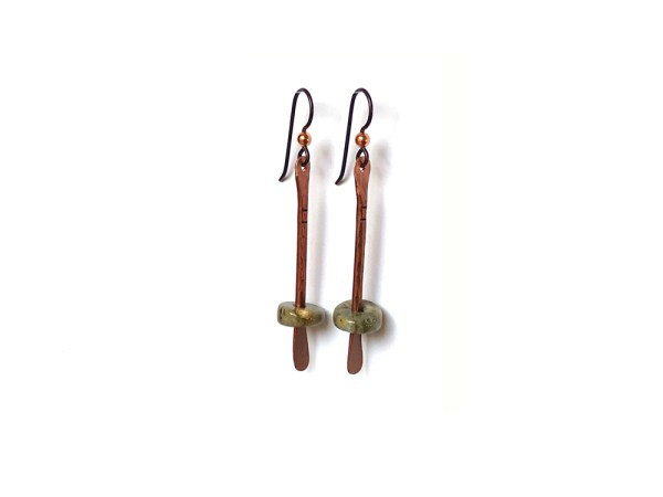 Floating Bead Forged Copper Earrings - Ocean Jasper