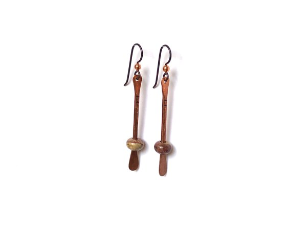 Floating Bead Forged Copper Earrings - Rainbow Jasper