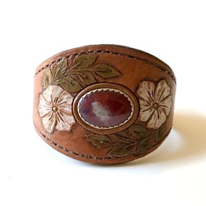 Wild Roses Leather Cuff Bracelet with Jasper