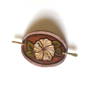 Small Leather Hair Clip - Wild Rose