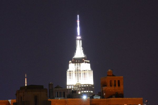 Empire State Building Night Brooklyn Heights