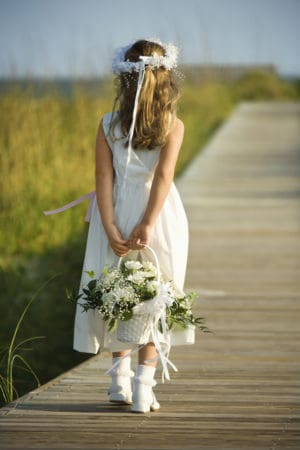 flowers girl on dock