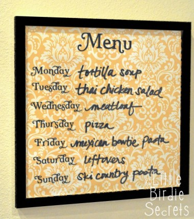 Glass Board Menu from Make and Takes featured on Friday Favorites at Mountain View Lane blog