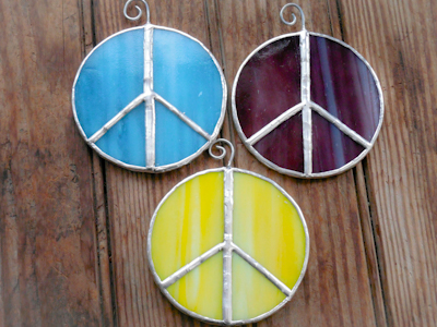 Aqua Purple & Yellow Stained glass peace sign suncatchers on wood
