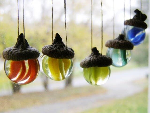 Glass Acorn Ornaments Set of 5