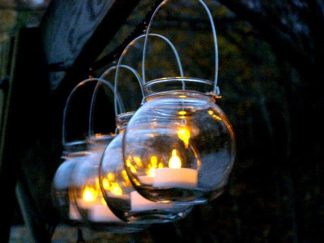 Four Clear Glass Globe Hanging Vase Candle Holders