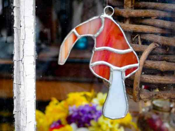 Orange white stained glass funky gnome hat stained glass mushroom