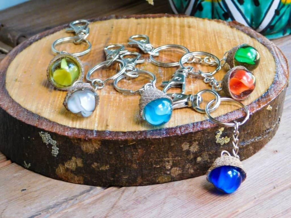Vintage Marble Acorn Keychain