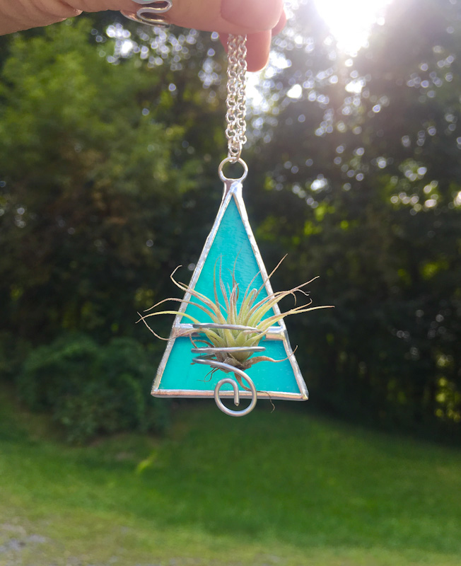 Stained Glass Air Plant Triangle Statement Necklace
