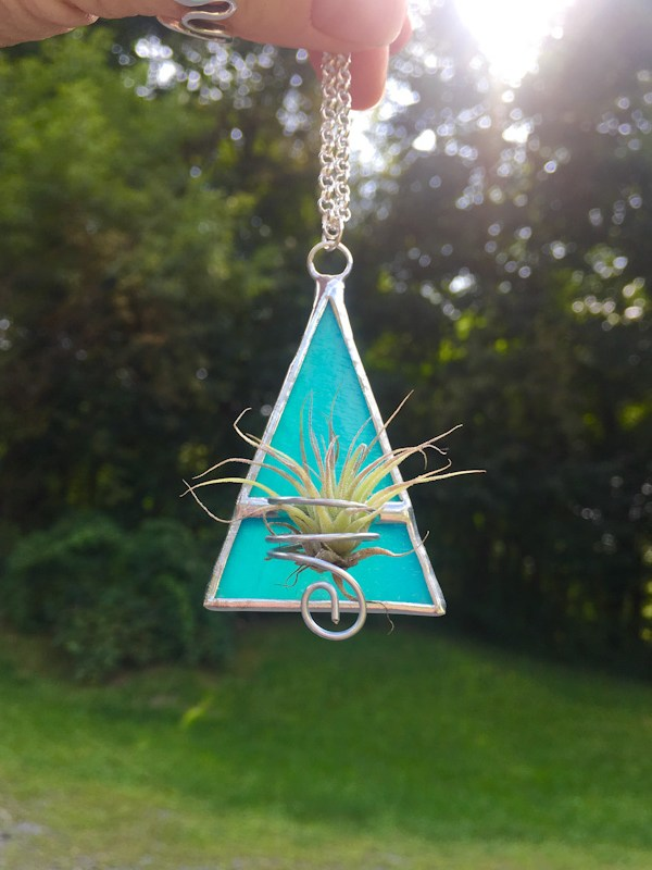 turquoise triangle stained glass air plant necklace