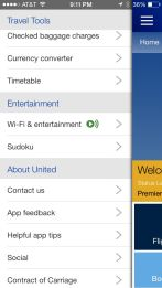 United Airlines application on iPhone