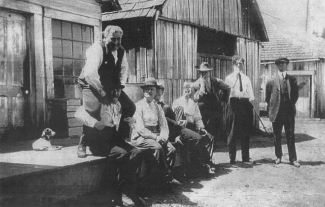 Billy and friends posing in front of old Welches Post Office
