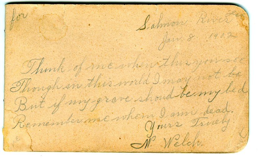 """A signature of William """"Billy"""" Welch from 1902"""