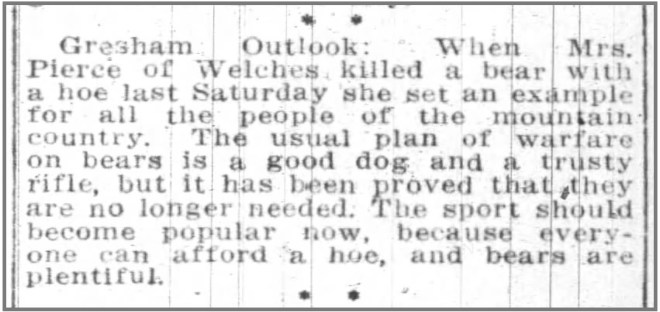 Welches Oregon Bear Hoe Portland Oregon Daily Journal 20 March 1915