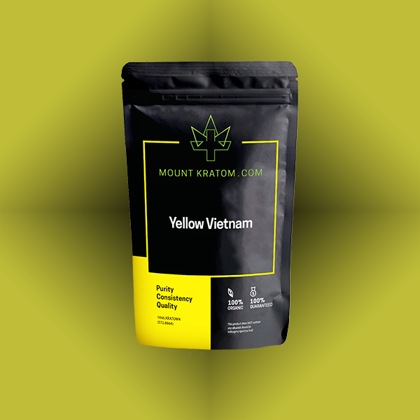 Pouch of Yellow Vietnam Kratom on yellow background