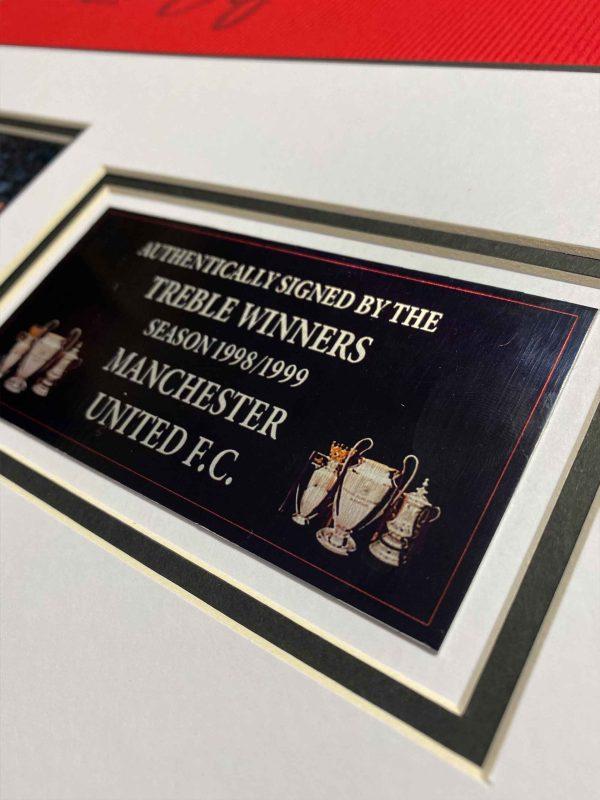 man united 1999-framed signed shirt up close 4