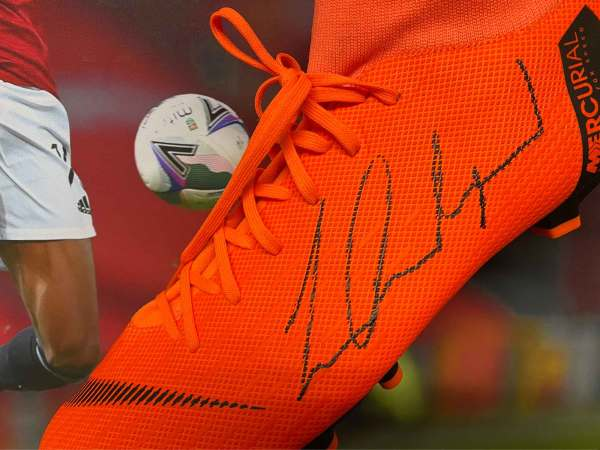 authentically signed rashford boot united up close