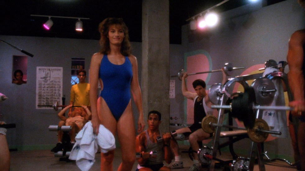 Women in the 1980s also exercise in swimwear?