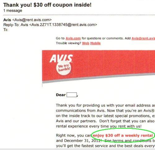 Avis car rental coupon codes