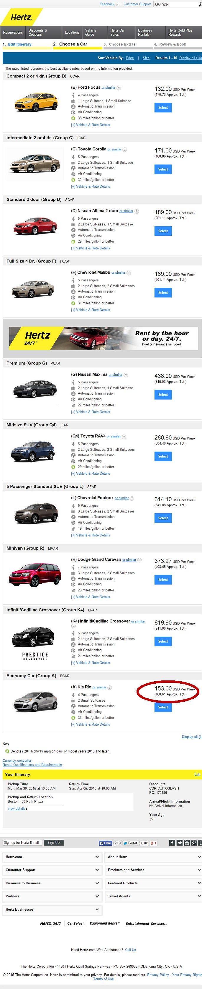 Car Rental List Hertz Price