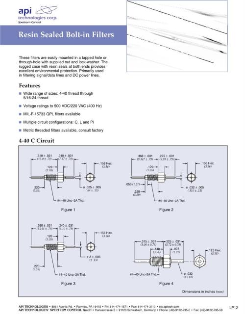 small resolution of pi filter emi feedthrough filters datasheets mouser type feedthrough filter circuit diagram