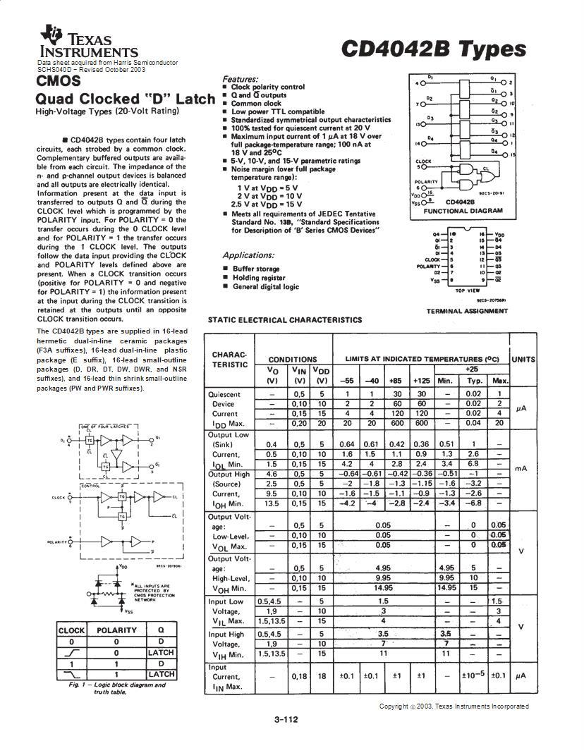 CD4002BE DATASHEET PDF
