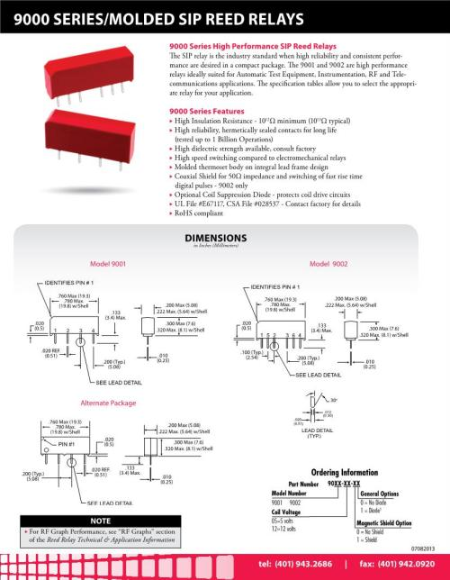 small resolution of 5 vdc no spst 1 form a 500 ohms reed relays datasheets