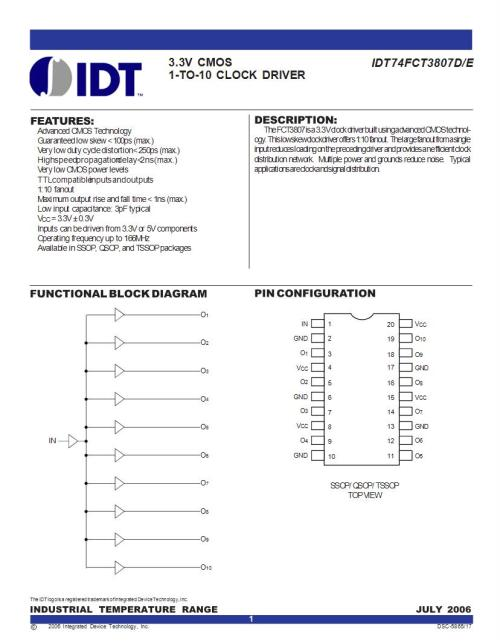 small resolution of idt74fct3807 idt integrated device technology emisores y distribuci n de reloj fichas t cnicas