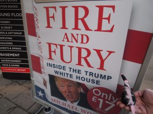 Fury looks at the poster advertising Fire and Fury, Inside the Trump White House