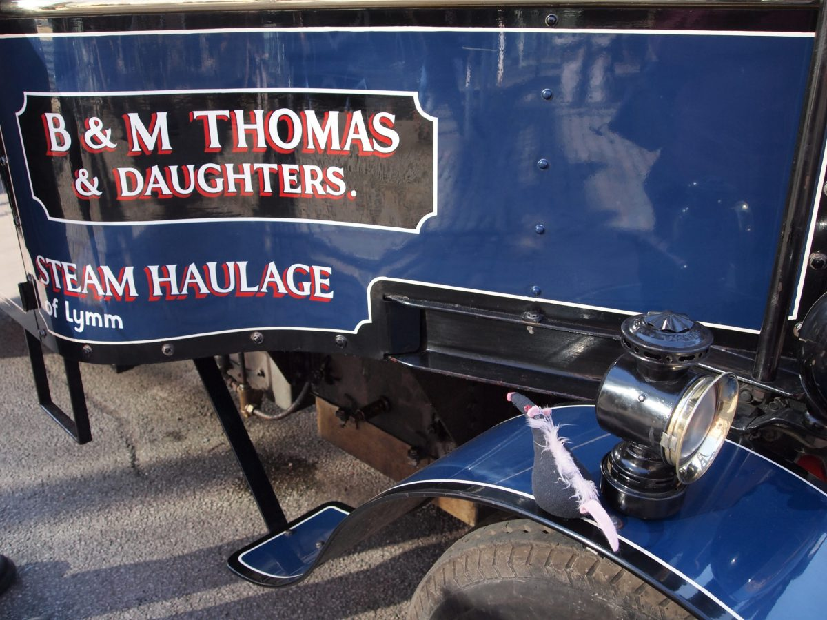 "Fury looks at a lorry with ""M Thomas and Daughters"" painted on it"