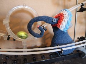 Ernest finds an egg on a marble run