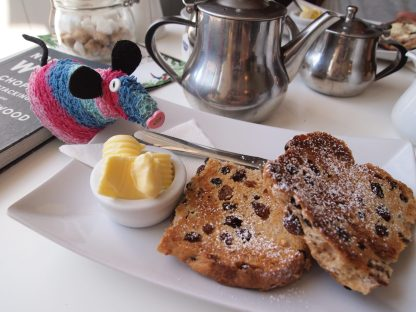 Ratvaark looks at a toasted Crich Square, a sort of teacake