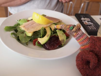 Esther looks at a trout and avocado salad