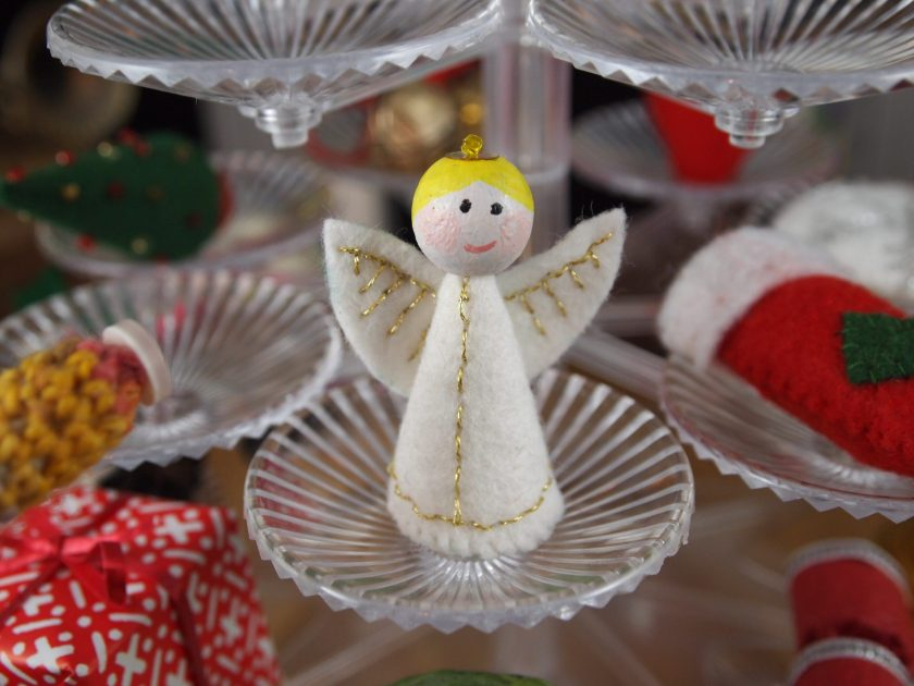 A close up of the angel