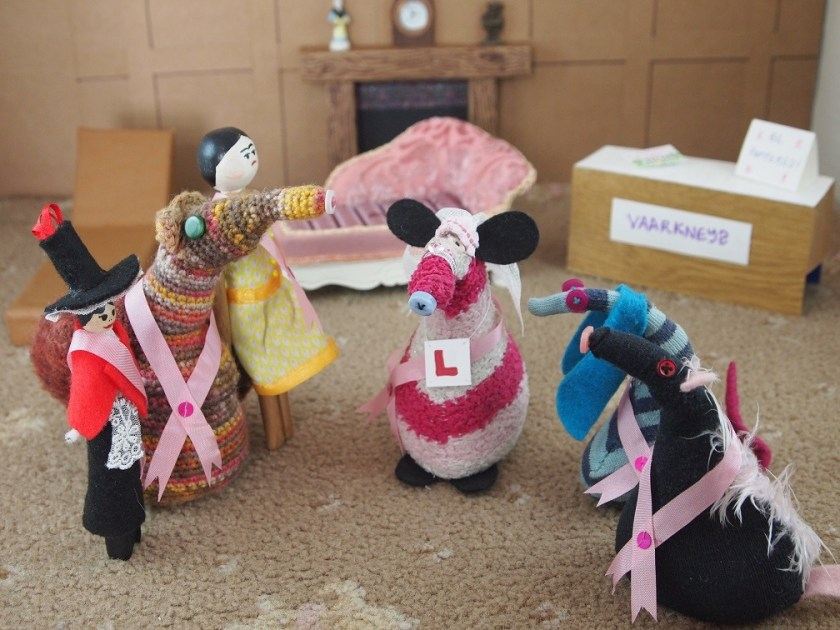 Matilda, Fury, Ofelia, Esther, Peggy and Mary are in a country house spa. They are all wearing pink sashes.