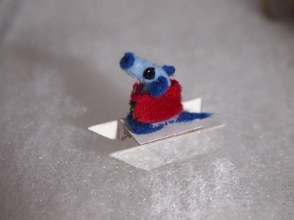 Nano is sitting on a tiny sledge