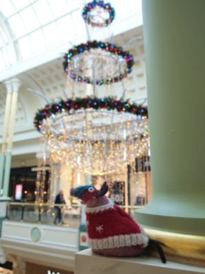 Ratvaark is in a shopping centre with huge hanging decorations