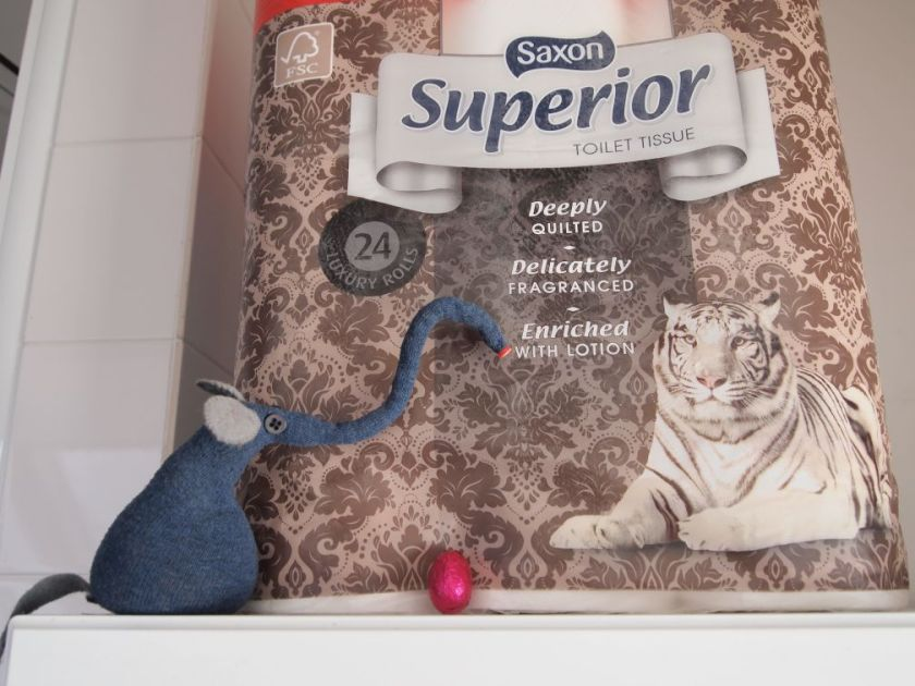 Ernest looks at the 24 roll pack of toilet roll on a shelf, with an egg perched in front