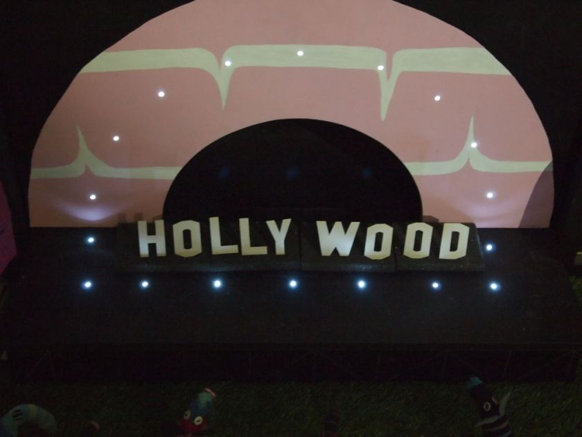 On the stage, are the iconic letters of the Hollywood sign
