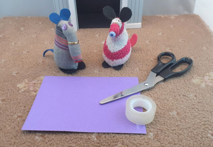 Dim and Matilda have a rectangle of paper, scissors and tape