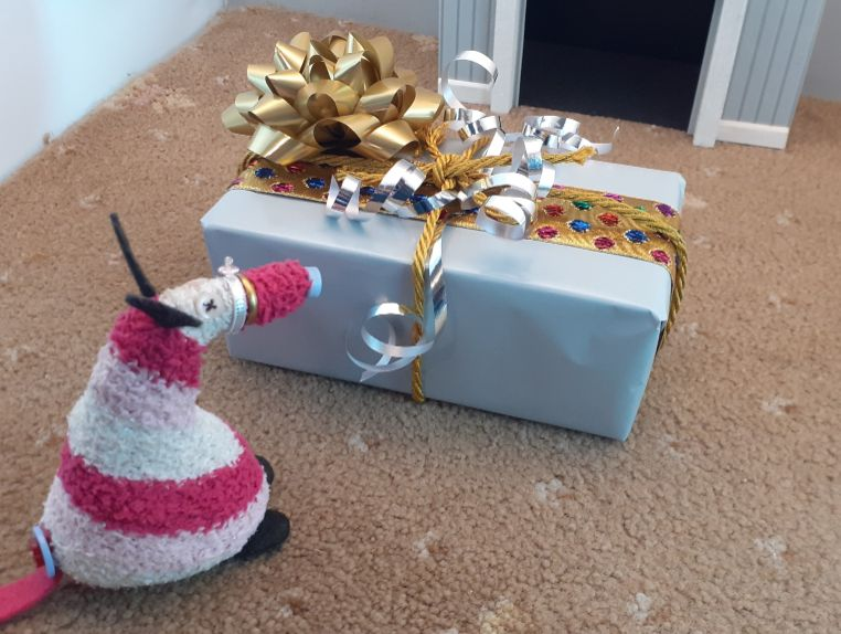 Matilda looks at her parcel, covered in ribbons and bows