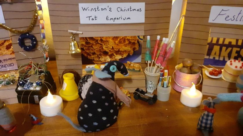 Winston has a selection of ornaments, toys and odds and ends