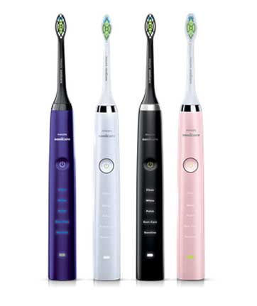 Philips sonicare Diamondcare toothbrush in white black pink and purple satin finish colors.