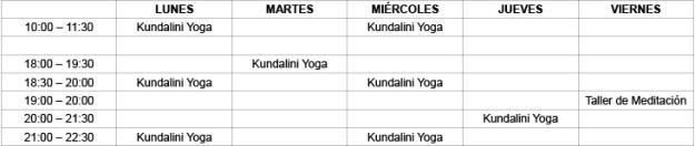 Horarios Centro de Yoga Prem