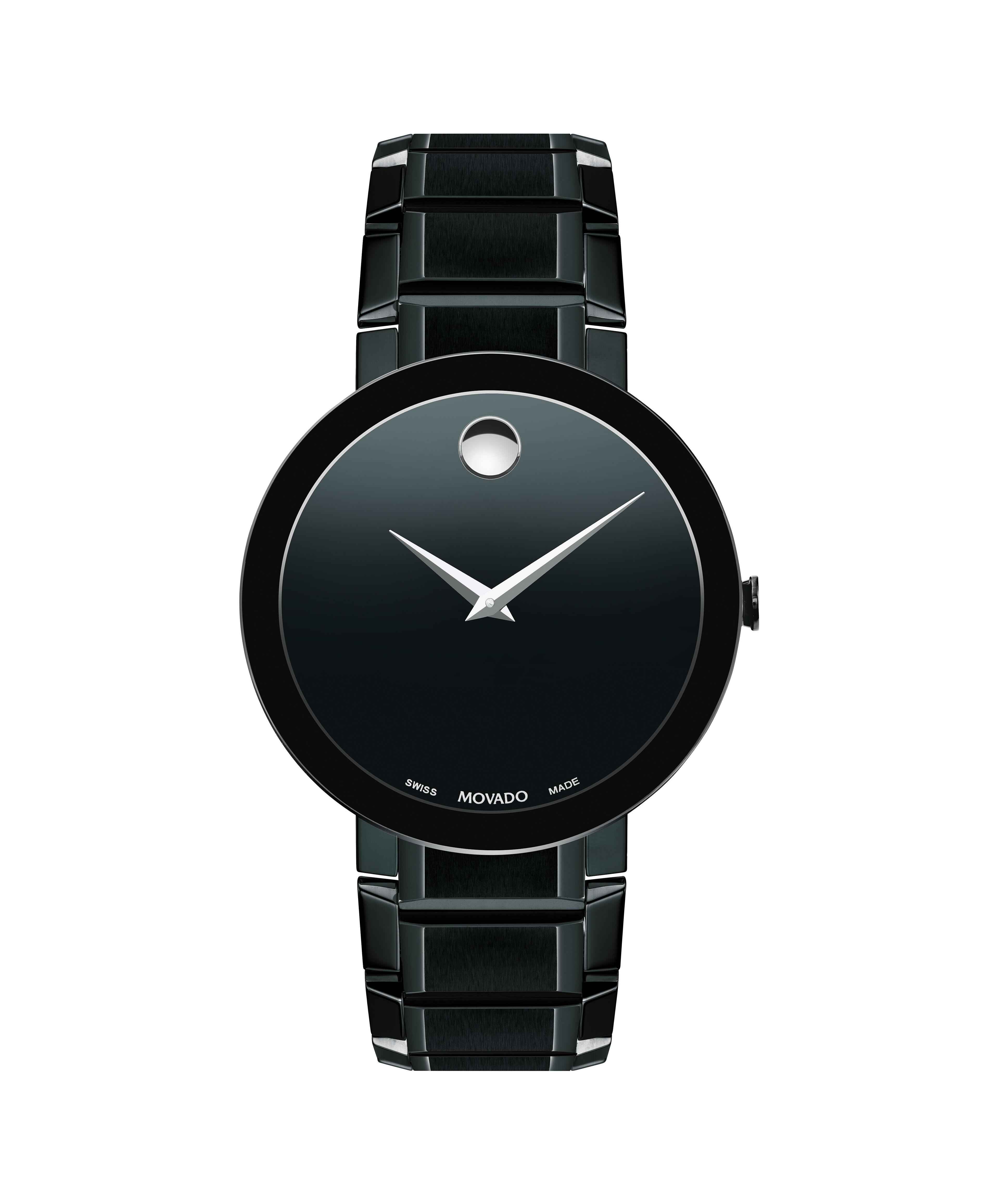 Movado Sapphire Men' Black Pvd Bracelet Watch