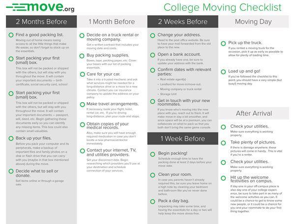 Apartment Moving Checklist