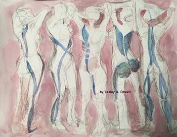 """5 Women"" Watercolor by Lesley A. Powell"